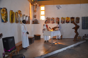 Father Florian celebrating mass at the church of Illeret